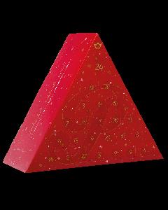 Der dreieckige, dunkelblaue Adventskalender 2018 von Prinz befüllt mit verschiedenen Schnaps- und Likörspezialitäten.