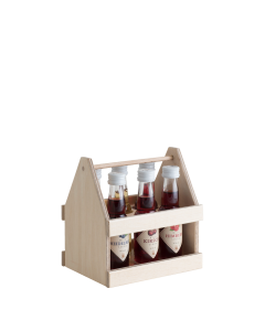 Zweireihiger Holzträger mit sechs 0,02-Liter-Flaschen der Wild Liköre von Prinz.
