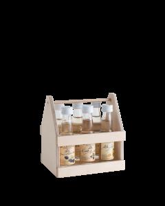 Zweireihiger Holzträger 6 verschiedenen 0,02-Liter Flaschen der Alten Sorten von Prinz.