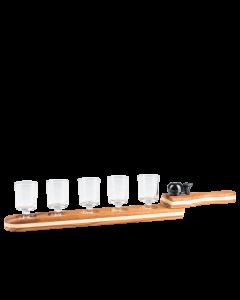 Schnapstablett aus Holz mit Klingel inkl. 5 kleiner Schnapsgläser mit Stiel von Prinz.