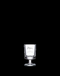Kleines Schnapsglas mit Stiel von Prinz und weißem Prinz-Logo-Aufdruck.