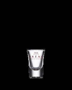 Das tulpenförmige 2-cl Schnapsglas mit rotem Aufdruck von Prinz.