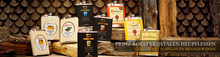 Roesvrijstalen heupflessen van Prinz -  gevuld met fijne schnaps en brandewijn