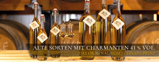 Alte Sorten mit charmanten 41 % vol. - das Original vom Schnaps-Prinz