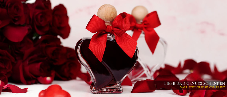 Valentinstag-Geschenke von Prinz: Himbeer Schnaps und Wild Himbeer Likör in der Doppelherzflasche