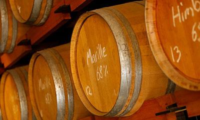 Marille-Destillat im Holzfass