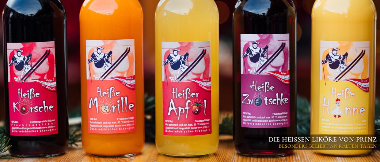 Fünf Flaschen: Heiße Kirsche, Heiße Marille, Heißer Apfel, Heiße Zwetschke, Heiße Henne von Prinz